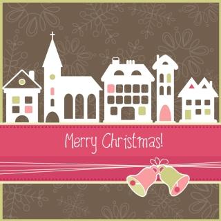 街の切り絵風クリスマスカード cartoon christmas background イラスト素材