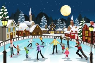 月明かりの聖夜にスケートを楽しむ人々 ice skating in the moon christmas scene イラスト素材