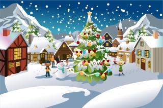 雪の広場 クリスマスツリー周りの子供達 snowman kids around celebration Christmas tree イラスト素材