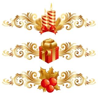 金色と赤の豪華なクリスマス デザインエレメント christmas design elements イラスト素材2