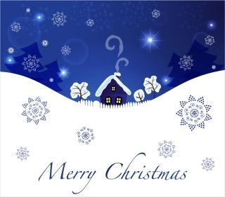 雪の佇まいクリスマスの夜景 christmas blue scenic background イラスト素材