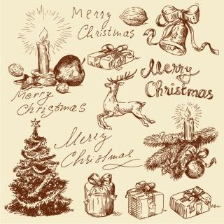 手描き風のクリスマス素材 vintage christmas illustration イラスト素材2