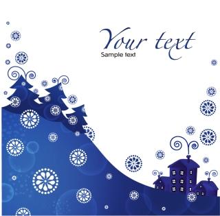 雪降る青い夜景のクリスマス背景 christmas blue background イラスト素材