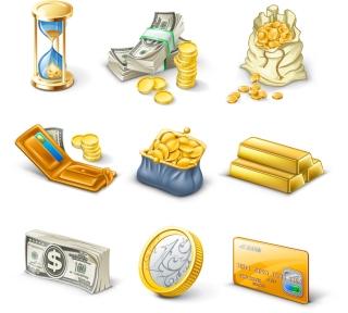ゴールドや紙幣のアイコン gold brick notes vector イラスト素材