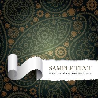 引き裂いたペイズリー柄の紙 tear the paper pattern イラスト素材