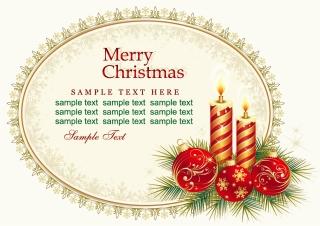 クリスマスキャンドルのカード テンプレート beautiful christmas cards vector イラスト素材1
