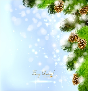 煌めく樅の木の背景 bright pine cones beautiful christmas background イラスト素材