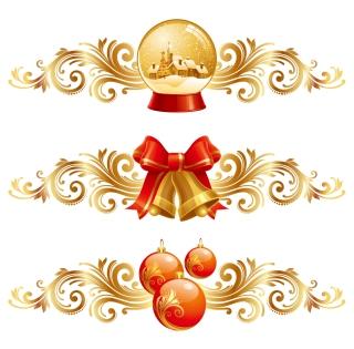 金色と赤の豪華なクリスマス デザインエレメント christmas design elements イラスト素材1