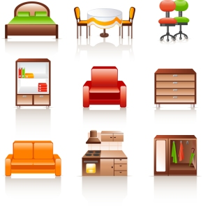 家具のアイコン rounded furniture icon イラスト素材3
