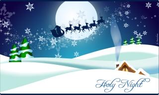 聖夜にトナカイのソリを引くサンタクロース Santa Claus on reindeer is coming イラスト素材
