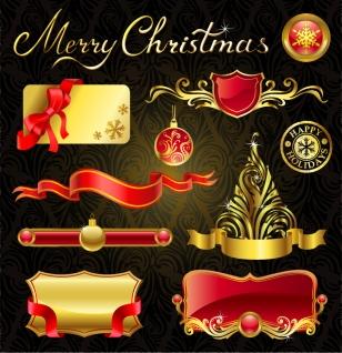 金色と赤の豪華なクリスマス デザインエレメント christmas design elements イラスト素材3