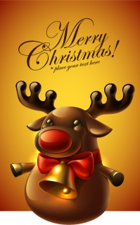 可愛いトナカイのクリスマスカード cute reindeer christmas greeting cards イラスト素材