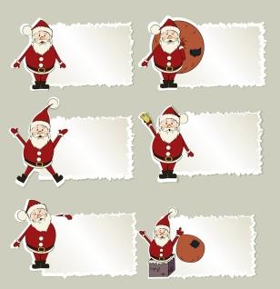 サンタクロースの付箋 Santa Claus christmas elements stickers イラスト素材