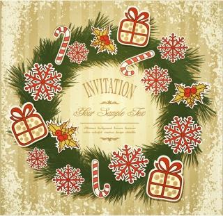 お洒落なクリスマスリースの背景 christmas patterns イラスト素材