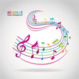 音符をお洒落に配置した背景 music note vector dancing イラスト素材