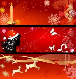 三種類の赤いクリスマスバナー christmas background banner vector イラスト素材