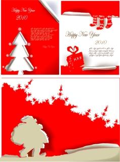 切り絵風のクリスマスポスター見本 christmas poster vector イラスト素材
