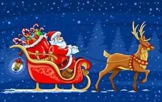 クリスマスプレゼントを運ぶトナカイのソリとサンタクロース Santa Claus gift bags snow beautiful christmas elements イラスト素材