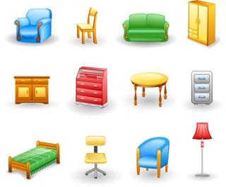 家具のアイコン rounded furniture icon イラスト素材2