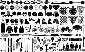スポーツ用品のシルエット Silhouettes Vector Sport Equipment イラスト素材