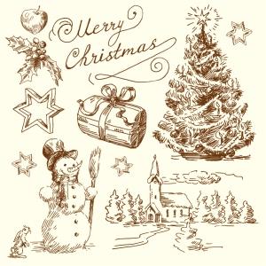 手描き風のクリスマス素材 vintage christmas illustration イラスト素材