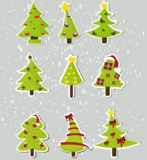 クリスマスツリーを切り抜いたステッカー christmas elements stickers イラスト素材