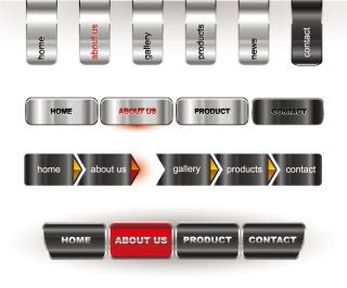 メタリックなウェブサイト ボタン web design Metallic editable website buttons イラスト素材