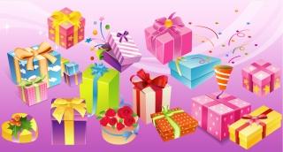 プレゼント箱のデザイン見本 Design sample gift box イラスト素材