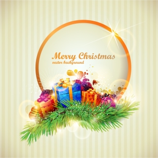 クリスマスプレゼントの丸いテキストフレーム beautiful christmas gift box イラスト素材