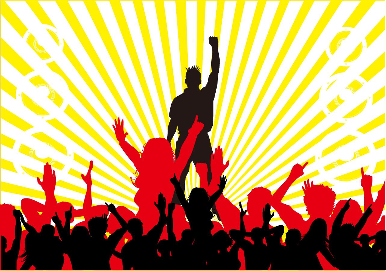 音楽に熱狂する群衆のシルエット...