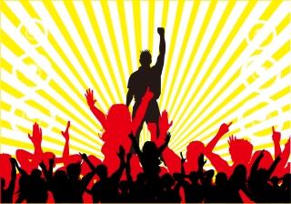 音楽に熱狂する群衆のシルエット concert stage music theme イラスト素材