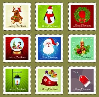 クリスマス切手デザイン christmas stamp element イラスト素材