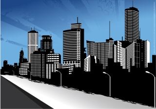 ビル街の遠景のシルエット City Skyline Art イラスト素材