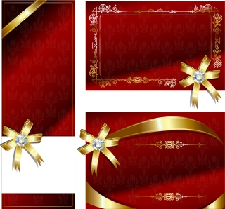 豪華な金色リボンのグリーティングカード見本 bow ribbon card vector イラスト素材