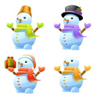 愛らしい雪だるま lovely christmas snowman イラスト素材