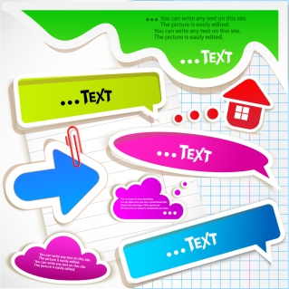 立体的な白フチの吹出し arrows dialog boxes イラスト素材