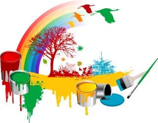 ペンキで描く虹の背景 plant bucket tree geese vector rainbow イラスト素材