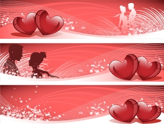 愛情を表現したバナー見本 Heart-shaped couple people silhouette banner イラスト素材