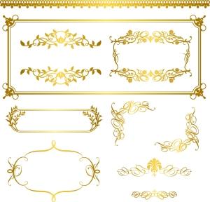 金色に輝く飾り罫 gold lace pattern イラスト素材