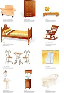 家具のクリップアート Furniture icon vector material イラスト素材