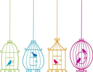 鳥かごのシルエット Animal bird and birdcage イラスト素材1