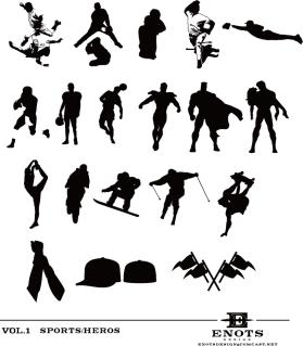 スポーツとヒーローのシルエット High Quality Sport and Hero Silhouettes イラスト素材