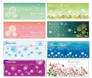淡い色合いの花柄バナー flowering plants banner イラスト素材