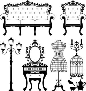 ヨーロッパ調インテリア家具のシルエット europeanstyle home furniture イラスト素材4