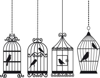 鳥かごのシルエット Animal bird and birdcage イラスト素材2