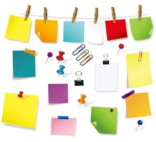 色々な形の付箋 Fine sticky notes paper イラスト素材