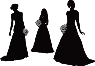 結婚式の新郎新婦のシルエット bride and groom wedding silhouette イラスト素材4