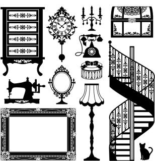ヨーロッパ調インテリア家具のシルエット europeanstyle home furniture イラスト素材5