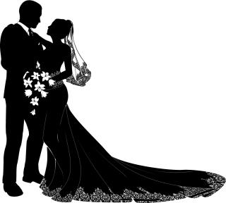 結婚式の新郎新婦のシルエット bride and groom wedding silhouette イラスト素材3