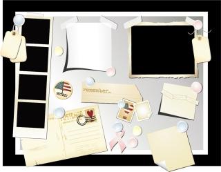 付箋とフォトフレーム stationery postcards photos vector イラスト素材